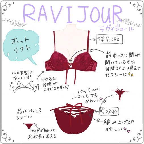 RAVIJOUR(ラヴィジュール) 「ビタークロスホットリフト 単品ブラ」¥4,790 「ビタークロス 単品ショーツ・Tバック」¥2,890