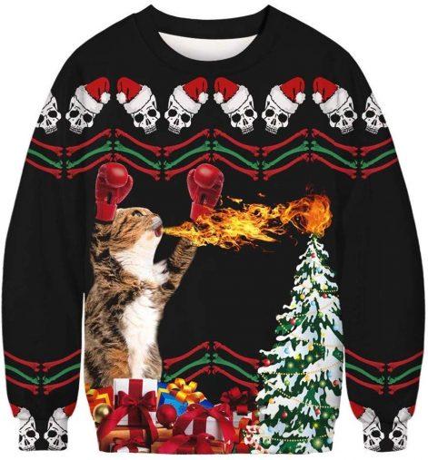 猫がファイヤー!カップルで着られるペアセーター