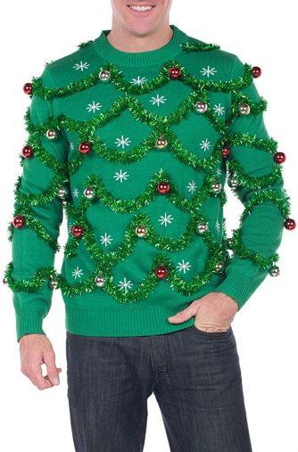 電球付きの全身ツリー!クリスマスツリーセーター