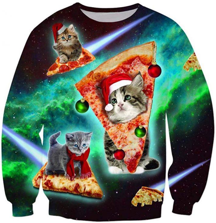 ピザに乗った猫が宇宙を飛ぶ!猫ピザスウェット