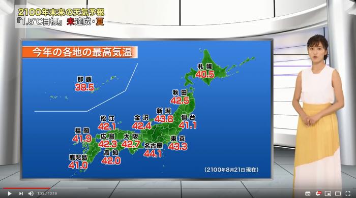 「2100年 未来の天気予報 夏」(動画チャンネル環境省COOL CHOICE)より
