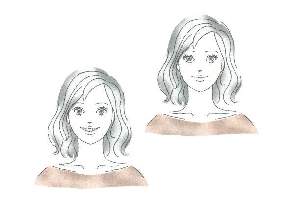 (左)60%笑顔、(右)20%笑顔