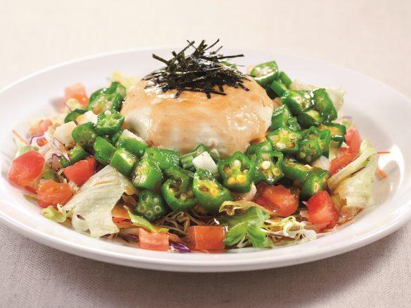 「豆腐と山芋オクラのねばとろサラダ」(L):698 円