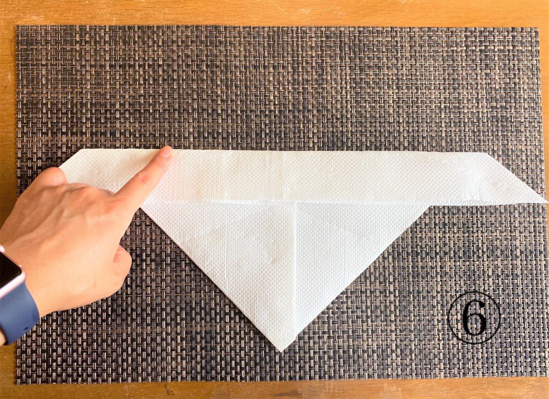(6)その折り目に合わせて、上部を手前に折る