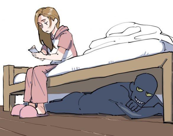 ベッドの下に人が