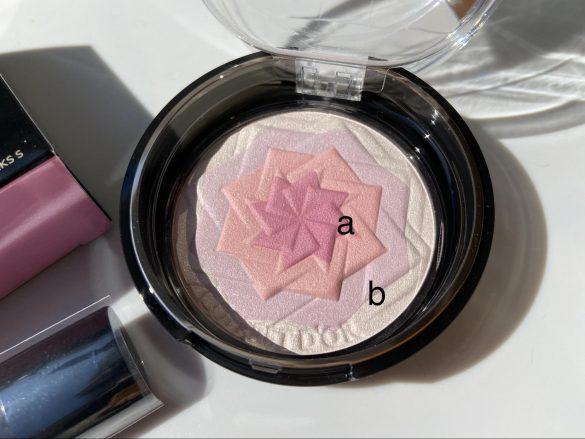 内側2色がチークカラー(a)、外側2色が美肌ハイライト (b)