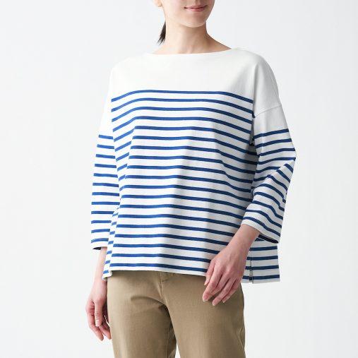 太番手天竺編みボートネック七分袖Tシャツ(パネル) 婦人M~L・ブルーボーダー